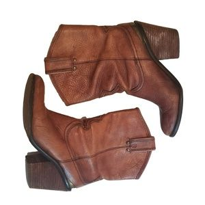 Lucky Brown Leather Slouch Western Boots 7-7.5